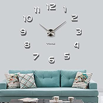 Vangold Frameless DIY Wall Clock 3D Mirror Wall Clock Large Mute Wall  Stickers For Living Room Part 83