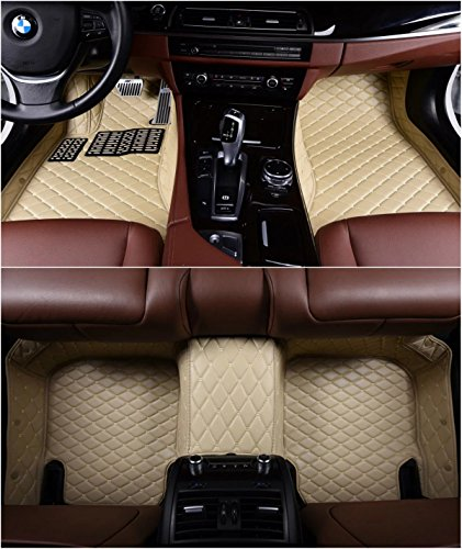 OkuTech Custom Fit XPE-Leather All Full Surrounded Waterproof Car Floor Mats for Mercedes Benz S Class S280 S300 S320 S400 S500 S550 5 Seats 2014-2019,Beige
