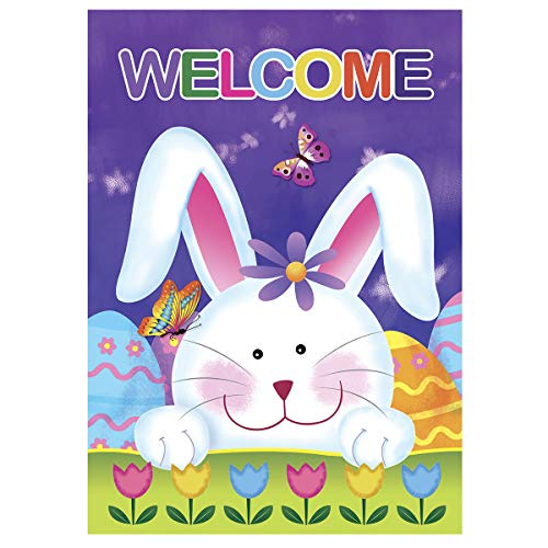 Morigins Welcome Bunny Eggs 28 x 40 Inch Decorative Cute Rabbit Spring Tulip Easter House Flag