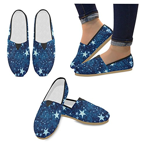 Rentprint Dames Loafers Classic Casual Canvas Slip Op Fashion Shoes Sneakers Flats Galaxy