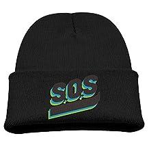 SOS Personality Art Fashion Beanie Hat Flat Brim Winter Knit Cap Warm For Children