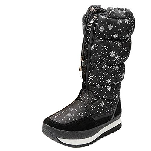Womens Lovely Winter Snow Boots Ladies Comfort Round Toe Mid Calf Flat Ankle High Eskimo Fur Ski Boots Black cGNpuadLZ