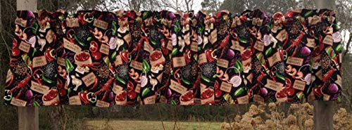 - Louisiana Crawfish Lobster Shrimp Cajun Gumbo Chef Cook Black and Red Window Curtain Valance