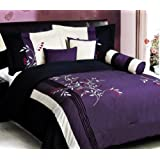 7 PC Modern PURPLE BLACK Embroidered Comforter Set / BED IN A BAG - KING SIZE BEDDING