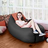 Okayji Inflatable Sleeping Bag Beach Hangout Lazy Air Bed Use For Picnic, Home - Black