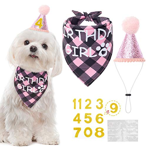 Mihachi Dog Birthday Bandana with Hat – Party Supplies Birthday Set for Pet Puppy Cat for Birthday Party