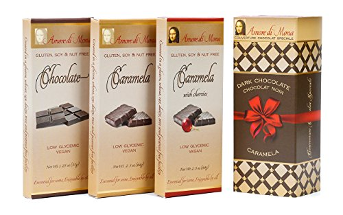 Amore di Mona Artisanal Vegan Chocolate Gift - Classico 3 Pack - Chocolate, Caramela, Cherry Caramela. Premium Ingredients are All Natural, Non-GMO, Kosher. Gluten, Soy, Sesame, Milk, Nut - Milk Chocolate Solid Box Gift