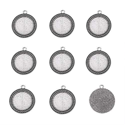 Kissitty 10Pcs Tibetan Antique Silver Flat Round Pendant Cabochon Settings 25mm Inner Dia. Blank Tray Bezel Cameo Charms for DIY Photo Jewelry Necklace Making from KISSITTY