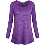 Kimmery Women's Yoga Tops Long Sleeve Round Neck Loose Fitting Athletic Shirt