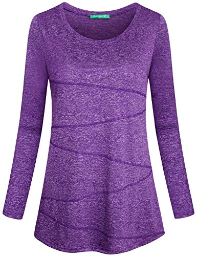 Kimmery Stretchy Shirts for Women, Junior Workout Tops Super Soft Fabric Sun Protection Long Sleeve Slendering Hem Slim Fit Yoga Running Blouse Shirt Outdoor Clothes Purple X-Large