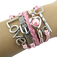 Bestpriceam Fashion Infinity Heart Pearl Love Key Leather Alloy Charm Bracelet...