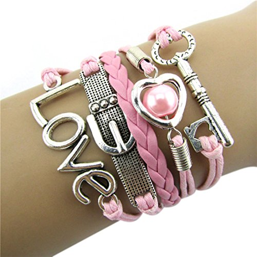 Bestpriceam Fashion Infinity Heart Pearl Love Key Leather Alloy Charm Bracelet Pink (Pink)