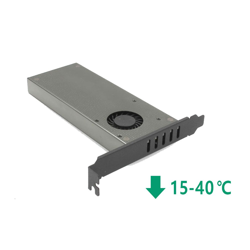 M.2 PCIe Adapter, Cooler Heatsinks with Fan,Dual M2 SSD NVME (m key) or SATA (b key) to PCI-e x 4 Host Controller Expansion , for Desktop PCI Express Slot by Voice on growth (Image #2)
