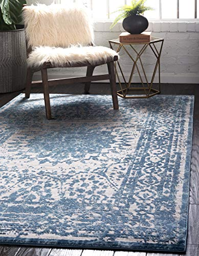 Unique Loom Aberdeen Collection Textured Traditional Vintage Tone-on-Tone Light Blue Area Rug (8' 0 x 10' 0)