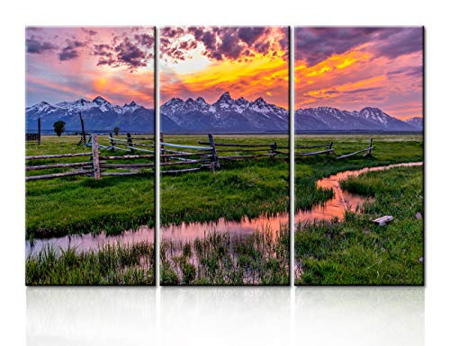 Landscape Painting Barn Pictures Art Work for Home Walls Grand Teton,Wyoming Canvas 3 Piece Artwork Modern Home Decor for Living Room Framed Gallery-wrapped Ready to Hang Posters and Prints -28''x42'' (Fence Canvas)