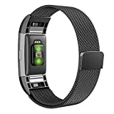 Bands for Fitbit Charge 2, Simpeak Stainless Steel Replacement Metal Band Strap with Magnetic Closure Clasp for Fit bit Charge 2, Black, Large