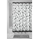 InterDesign SophistiCat Fabric Shower Curtain, 72 x 72, Black/White