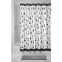 InterDesign SophistiCat Fabric Shower Curtain, 72 x 72, Black/White