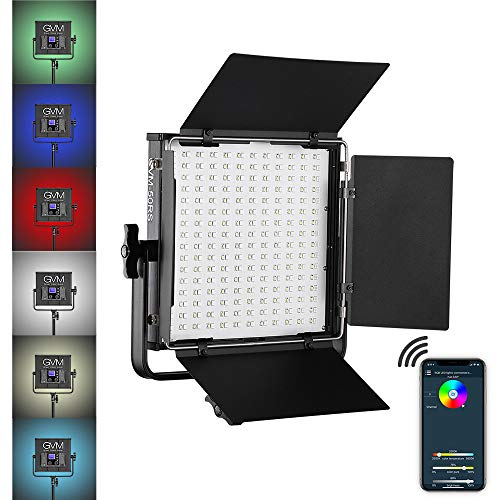 GVM RGB Video Light Full Color Output CRI97+ APP Control 2000K-5600K LED Continuous Video Light kit for Studio YouTube Photography Interview Portrait Photo Camera Lighting, Carry case, barn-Door