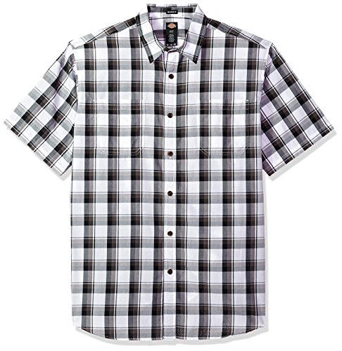 dickies Men's Yarn Dyed Short Sleeve Shirt, Black/White Large Plaid, XL (Black And White Plaid Button Up Shirt)