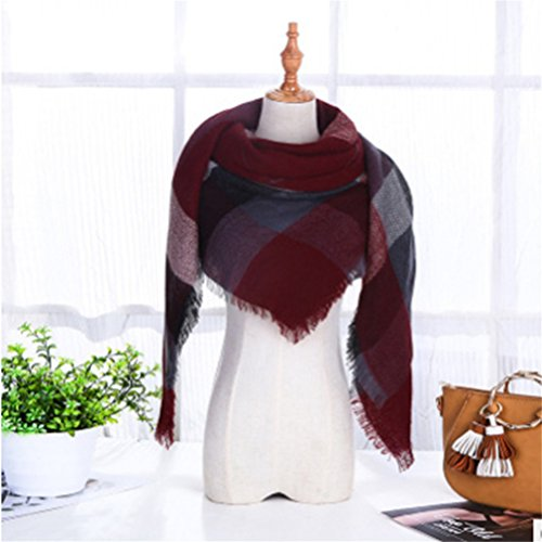 SOURBAN Women Triangle scarf Plaid Blanket Scarf Cozy Shawl Winter Wrap Scottish Scarves Red Wine