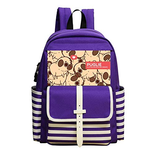 6ce7924fb A Little Pug With Big Dreams Kids School Backpack Bookbag Student College  Bag Daypack Girls Boys