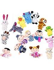 OFKPO 16 stks Zachte Vinger Puppets Set Educatief Speelgoed Cartoon Dier Speelgoed Inclusief 10 stks Dier en 6 stks Familie Leden