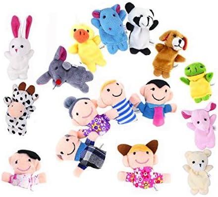 XLKJ Juguete Marionetas de Mano Animales de Dedos, Titeres de Dedo Animales para Bebé Niños - 16Pcs