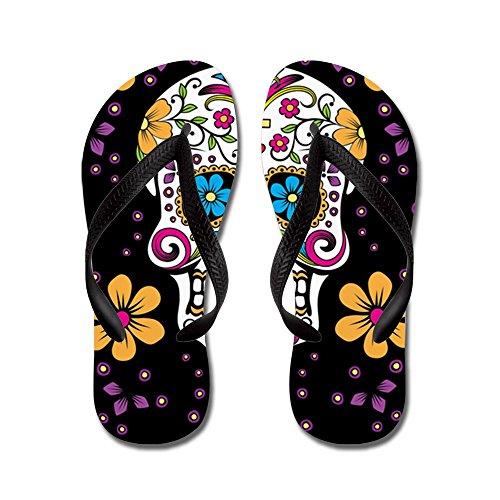 CafePress Sugar Skull Black - Flip Flops, Funny Thong Sandals, Beach Sandals by CafePress