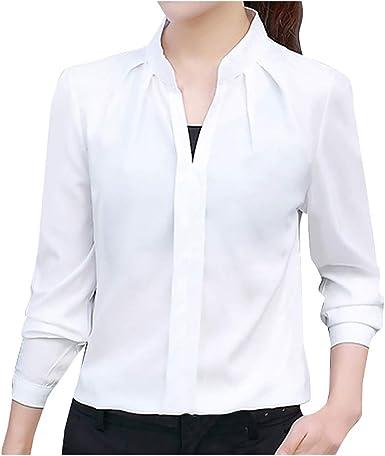 beautyjourney Blusa Elegante de Negocios para Mujer Camisa Casual de Manga Larga Delgada de Color Sólido Camiseta con Cuello de Pico Camisa Básica: Amazon.es: Ropa y accesorios