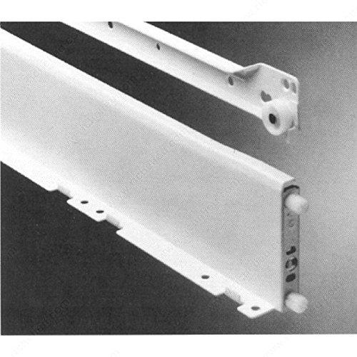 Zargen Drawer Slide - GR6036550 - Slide Length 21 5/8 in, Slide Height 3 1/4 in, Load Capacity 100 lb, Side Clearance 3/16 in, Finish White ()