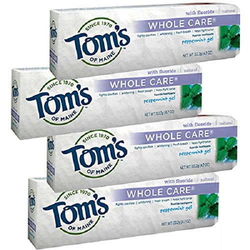 Toms Whole Care Toothpaste (Tom's of Maine Whole Care with Fluoride Natural Toothpaste Gel, Peppermint 4.7 oz (Pack of 4))