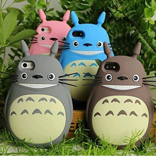 NEW 3D Japan Fashion rubber cute Cartoon Animals Totoro Protective soft silicone case cover For Iphone 4 4g 4s/5 5g 5s/iphone6 4.7 Inch/ plus 5.5 Inch (4.7 Inch Gray)
