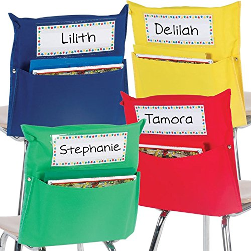 Really Good Stuff Store More Grouping Chair Pockets - Six Bright Rainbow Colors - Pocket Chair Organizer Keeps Students Organized and Classrooms Neat (Set of 32)]()