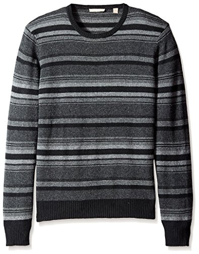 Cashmere Addiction Men's Micro Stripe Crew Neck Sweater, Black Combo, M