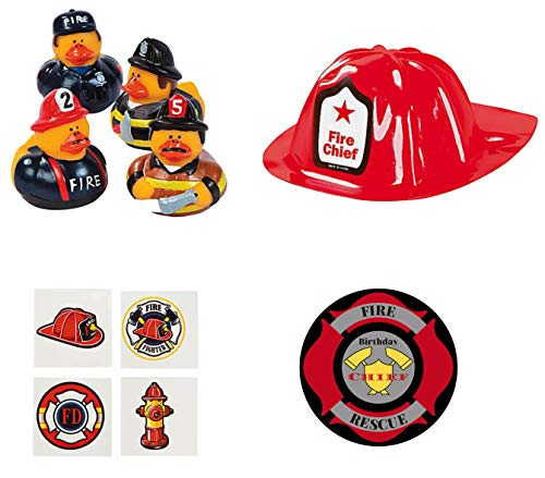 Fireman Party Favors Kit for 12 with Fireman Rubber Duckies, Firefighter Helmets and Tattoos