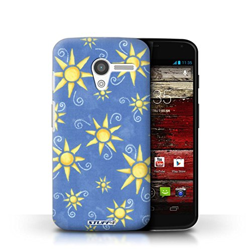 Coque de Stuff4 / Coque pour Motorola MOTO X / Bleu/Jaune Design / Motif Soleil Collection / par Deb Strain / Penny Lane Publishing, Inc.