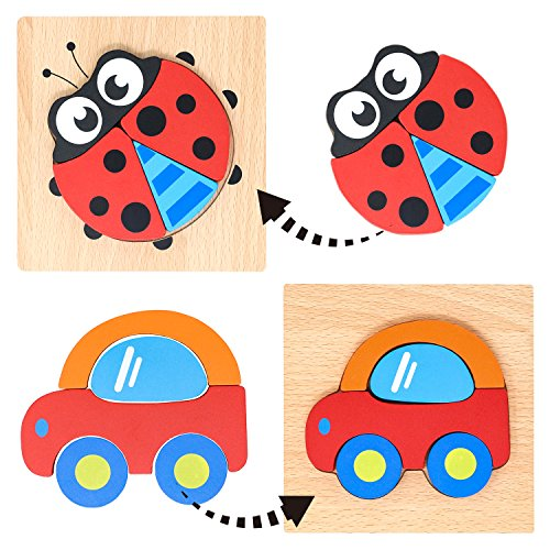 Lewo Wooden Vehicle Ladybug Jigsaw Floor Puzzle Shapes Blocks Educational Toys for kids