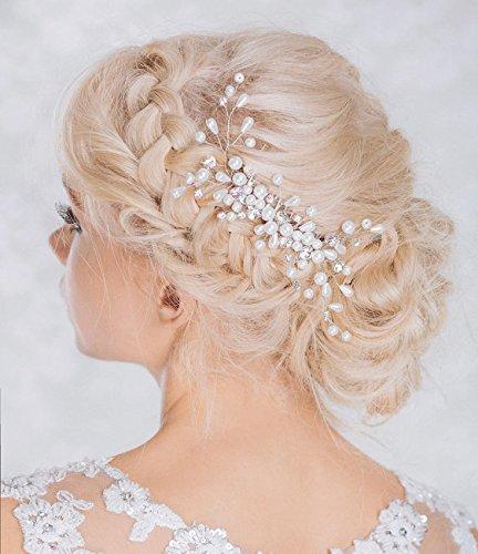 Venusvi Silver Wedding Hair Combs with Bead,flower and Rhinestones - Bridal Headpiece for Bridesmaids by Venusvi
