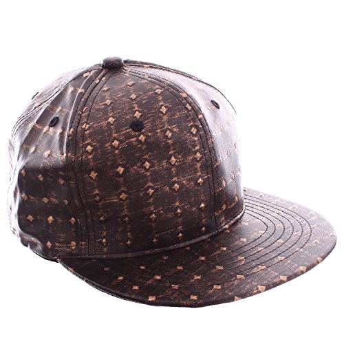 Academy Fits Bronze Faux Leather Embossed Markings Snapback Baseball Hat