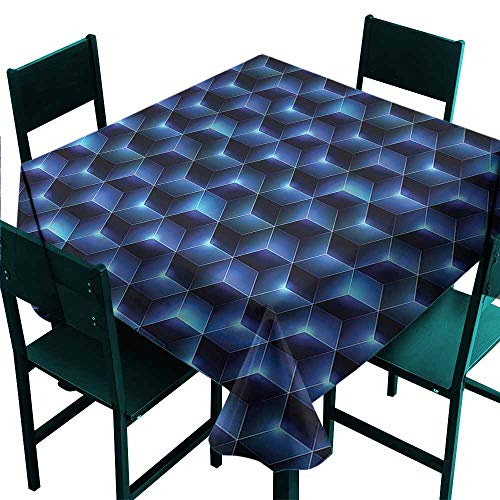 DONEECKL Oil-Proof and Leak-Proof Tablecloth Navy Blue Contemporary Style Cubes Table Decoration W50 xL50