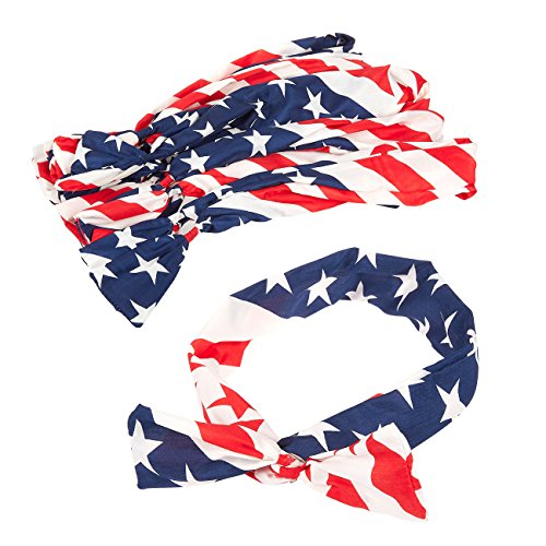 Set of 12 American Flag Headbands - USA Flag Bandana Patriotic Headband Chiffon Bowknot Style for Sports, Gym, Patriotic Display, Red, White & Blue ()