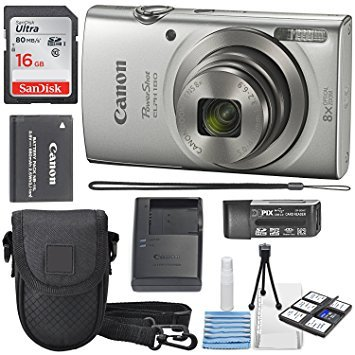 Canon PowerShot ELPH 180 Digital Camera (Silver) + 16GB SDHC Memory Card + Mini Table Tripod +Protective camera case with Deluxe Cleaning Bundle (Canon S95 Camera)