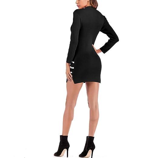 Luckycat Mujeres Sexy Retro Cheongsam Knit Mini Vestido Stand Collar Dividir Vestido de la Envoltura: Amazon.es: Ropa y accesorios