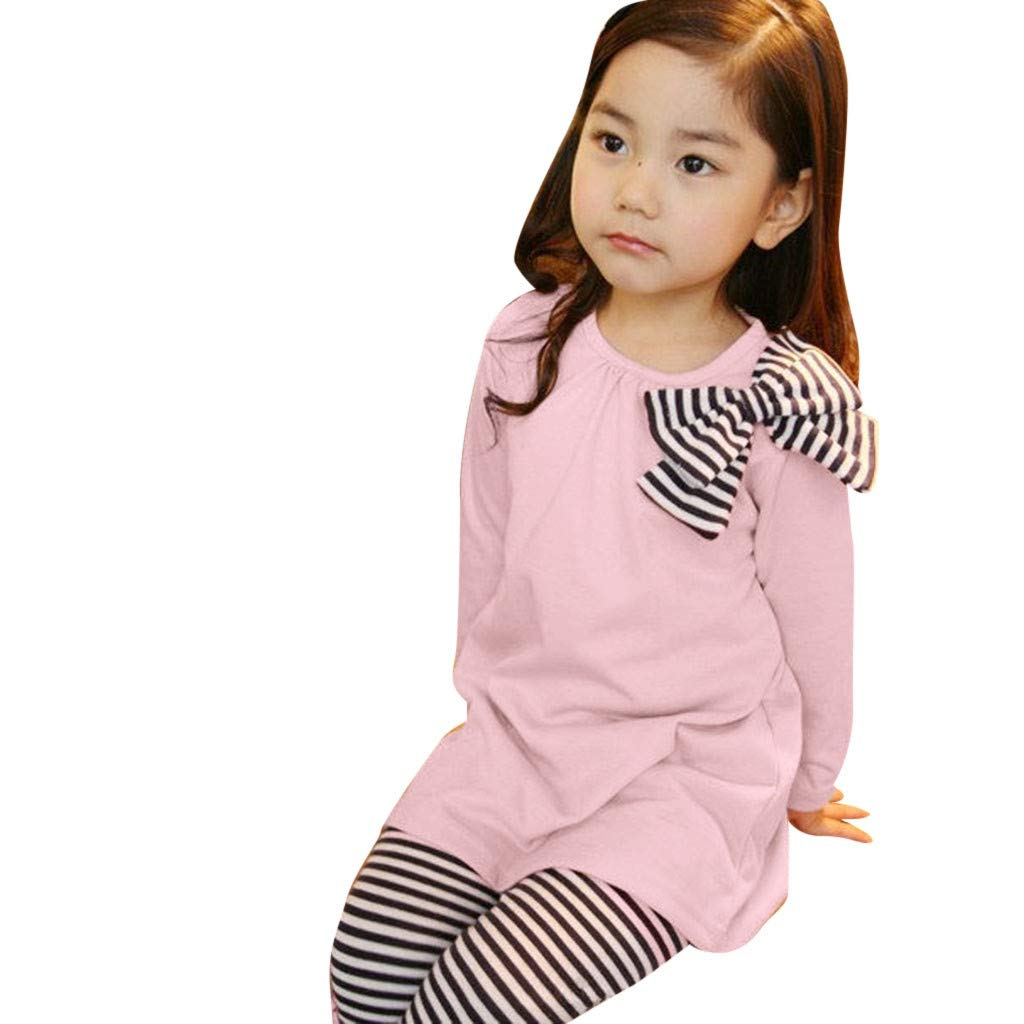 succeedtop Baby Set Toddler Girl Kids Clothes Long Sleeve Bow T-Shirt+Stripe Pants Outfits Set Children Striped Bow Top Blouse Trousers Suit for Children Toddler Baby Girl Kid Clothes (Pink, 3-4Y)