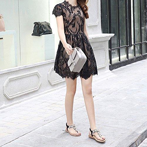 Plage Strap Tongs Strass T Sandales Black Bohême Hope Post Fleur Elastique Plat Femmes Boho Clip Thong Sandales Chaussures Toe q81zC
