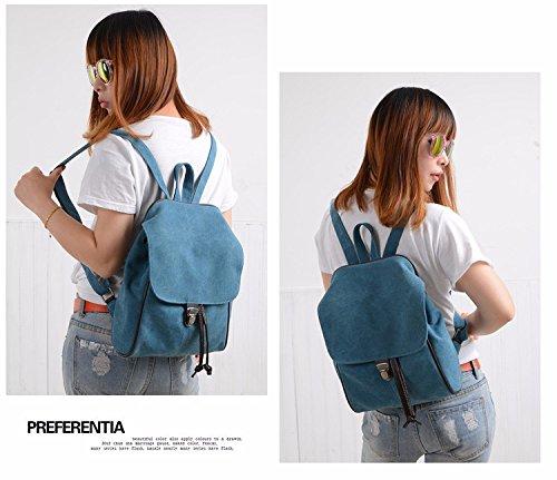mini fresh cute backpacks shoulder shoulders Women's bags bags canvas MSZYZ bags blue little n1pZwA
