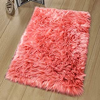 Noahas Luxury Fluffy Rugs Bedroom Furry Carpet Bedside Sheepskin Area Rugs Children Play Princess Room Decor Rug, 2ft x 3ft, Coral Red