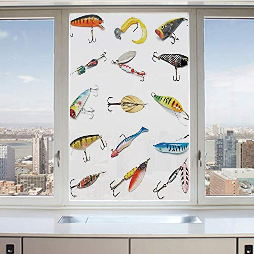 3D Decorative Privacy Window Films,Several Fish Hook Equipment Objects Trolling Angling Netting Gathering Activity,No-Glue Self Static Cling Glass film for Home Bedroom Bathroom Kitchen Office 24x36 I