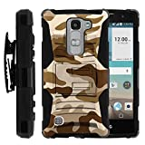 Escape 2 Case, Escape 2 Holster, Two Layer Hybrid Armor Hard Cover with Built in Kickstand for LG Escape 2 H443, LG Spirit 4G LTE C70 H440N (AT&T, Cricket) from MINITURTLE | Includes Screen Protector - Brown Camouflage